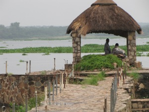 A couple in a lakeside gazebo at a lake on the outskirts of Harare, Zimbabwe in February.