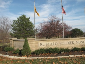 The entrance to Ft. Leavenworth's Buffalo Soldier Monument.