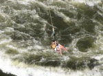 Taking a rope ride across the Zambezi at Victoria Falls