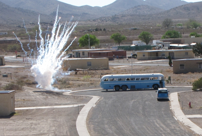 An IED exploding kicks off a mass casualty/rescue exercise at Playas, New Mexico.