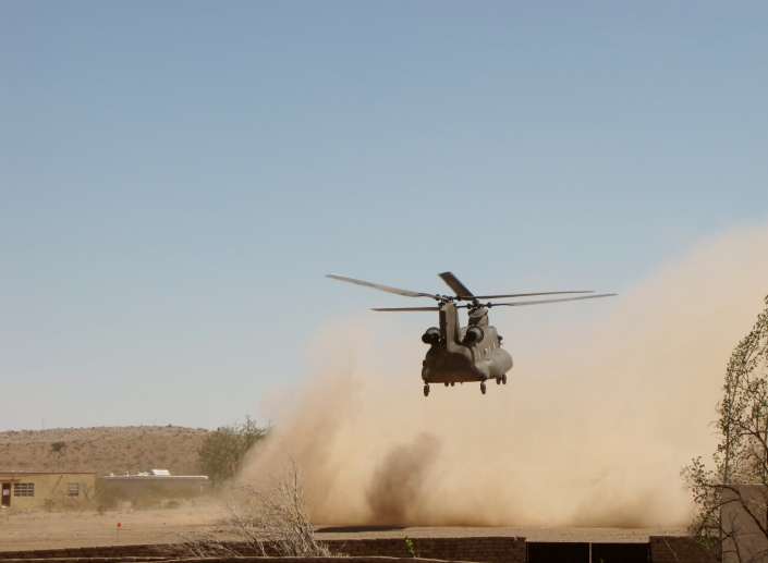 Chinook Helicopter coming in for landing.