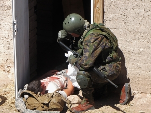 Casualty being treated