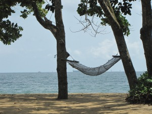 A hammock on Grand Batanga Beach, south of Douala.