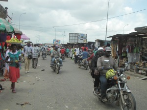 A scene in the grand market in Douala, where vendors from all over the region converge to sell their wares.