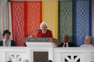 Former Supreme Court Justice Sandra Day O'Connor speaks to the CLSC 2013 graduates.
