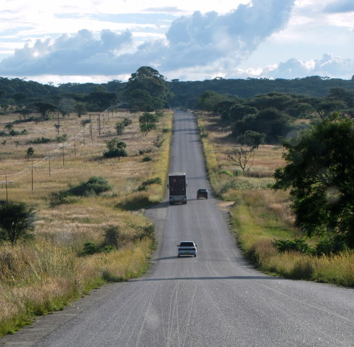 A country road in Zimbabwe, coming down from the mountains.