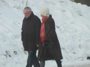 Elderly couple on the street in Copenhagen, Denmark.
